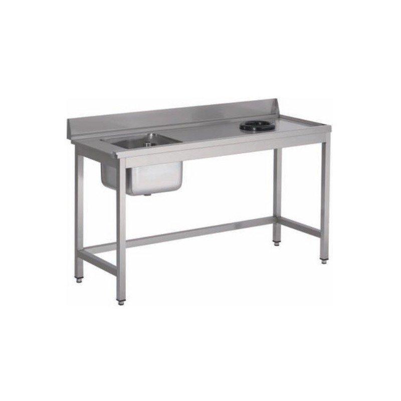 Table pour lave-vaisselle avec bac, trou à déchets et dosseret