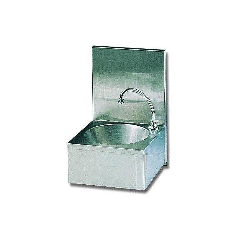 Lave mains à cuve ronde avec panneau basculant (version dosseret)