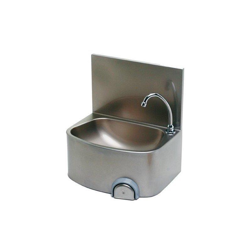 Lave mains à façade arrondie avec bouton poussoir (avec dosseret)