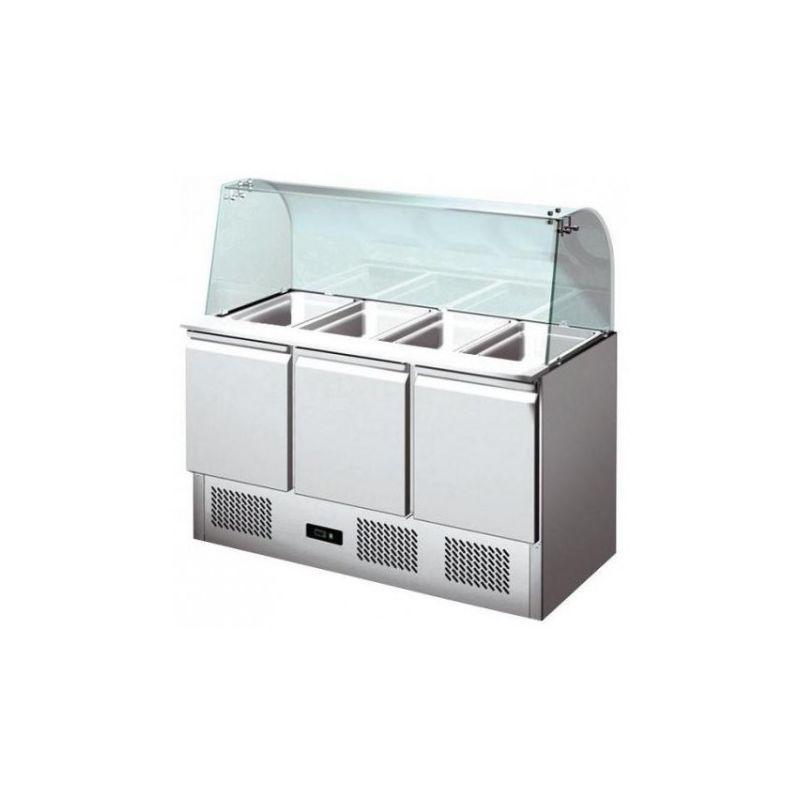 Saladette réfrigérée avec pare-haleine 3 portes