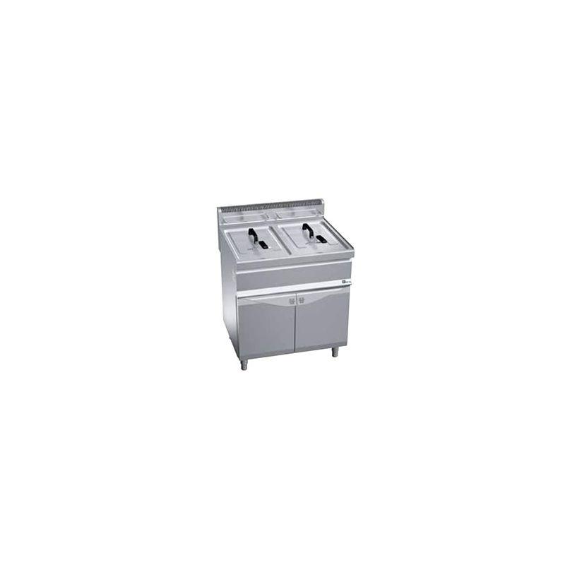 Friteuse à gaz sur coffre 2x15L avec vidange