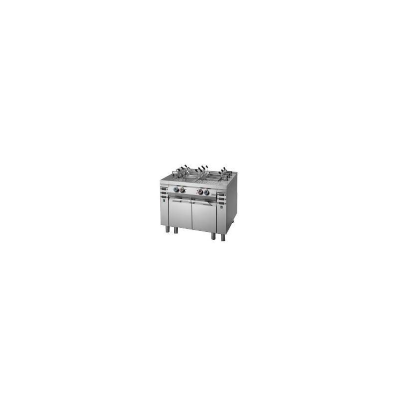Cuiseur à pâtes électrique 2 x 40 litres sur coffre avec module de relevage