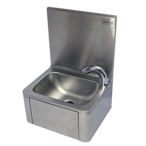 Lave-mains inox à commande fémorale avec robinet électronique